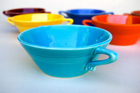 Vintage Harlequin Pottery For Sale: Turquoise Cream Soup Bowl 40s 50s Pottery
