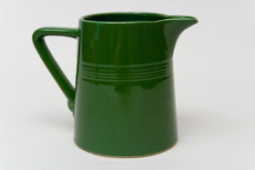 Vintage Harlequin Forest Green 22 ounce jug or milk pitcher: Harlequin Dinnerware 30s 40s American Solid Color Dinnerware For Sale