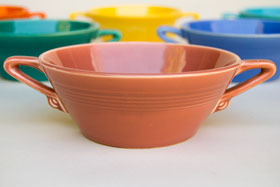 Vintage Harlequin Pottery For Sale: Rose Cream Soup Bowl 40s 50s Pottery