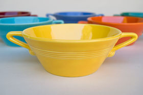 Vintage Harlequin Pottery For Sale: Yellow Cream Soup Bowl 40s 50s Pottery