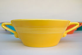 Yellow Harlequin Cream Soup Bowl Vintage Homer Laughlin Pottery