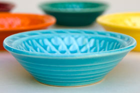 Vintage Harlequin Pottery For Sale: Turquoise Nut Dish 40s 50s Pottery