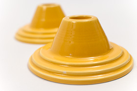 Rare Harlequin Pottery Yellow Candle Holders For Sale Antique Homer Laughlin Art Deco Fiestaware
