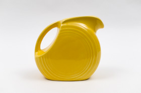 Vintage Fiesta Disk Juice Pitcher in Harlequin Yellow Glaze 30s 40s Americana Dinnerware