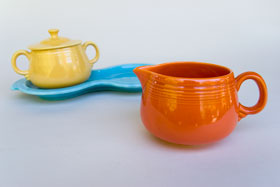 Vintage FIestaware: Original Radioactive Red Fiesta Pottery Individual Creamer For Sale