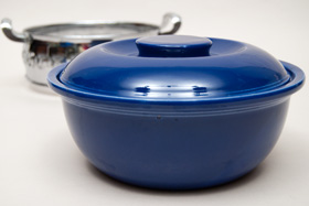 Original Cobalt Kitchen Kraft Casserole with Medal Holder: GoAlong Fiestaware Pottery For Sale