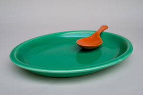 Kitchen Kraft Platter in Original Green: Hard to Find Go-Along Fiestaware Pottery For Sale