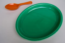 Kitchen Kraft Oval Platter in Original Green: Hard to Find Go-Along Fiestaware Pottery For Sale