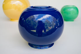 Kitchen Kraft Covered Ball Jar | Cookie Jar | Original Blue Cobalt Glaze For Sale Vintage Fiestaware