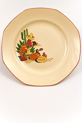 Maxicana Decalware Homer Laughlin Ivory Dinner Plate with Southwestern Theme Decals and Red Stripes