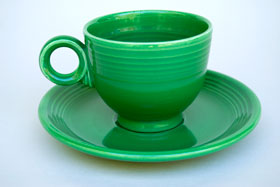 Medium Green Fiesta Ring Handled Teacup Fiestaware Pottery For Sale