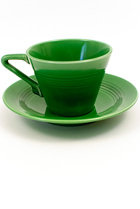 Vintage Harlequin Pottery Medium Green Cup and Saucer Set For Sale