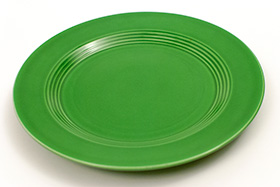 Vintage Harlequin Pottery Medium Green Dinner Plate For Sale