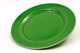 Vintage Harlequin Pottery Medium Green Salad Plate For Sale