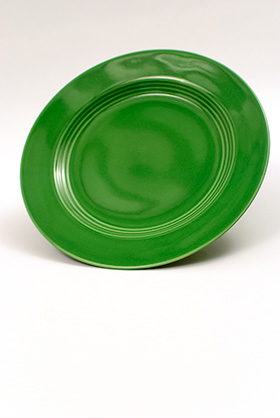 Vintage Harlequin Pottery Medium Green Luncheon Plate For Sale
