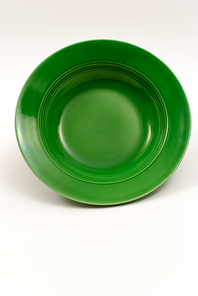 Vintage Harlequin Pottery Medium Green Deep Plate For Sale