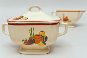 Vintage Homer Laughlin Original Mexicana Decal Sugar & Creamer Set on Century Ivory For Sale