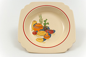 Mexicana Decalware Homer Laughlin Red Stripe Deep Plate