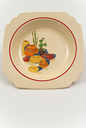 Mexicana Decalware Homer Laughlin Ivory Deep Plate with Southwestern Theme Decals and Red Stripes