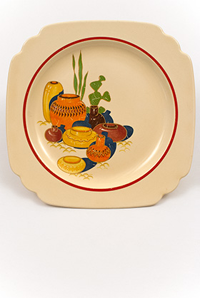 Mexicana Decalware Homer Laughlin Ivory Luncheon Plate with Southwestern Theme Decals and Red Stripes