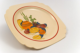 Mexicana Decalware Homer Laughlin Red Stripe Luncheon Plate