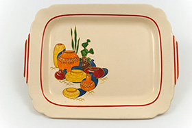 Mexicana Decalware Homer Laughlin Red Stripe Batter Tray
