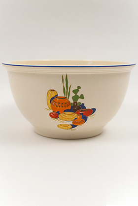 Mexicana Kitchen Kraft Homer Laughlin Decalware Mixing Bowl with Blue Stipe