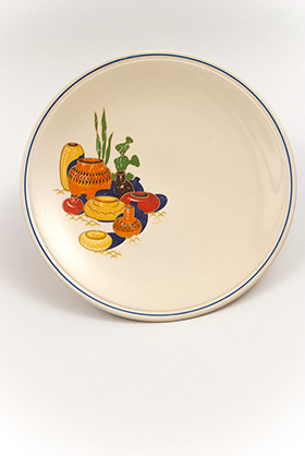 Mexicana Decal Ware Homer Laughlin Blue Stripe Cake Plate