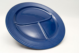 Vintage Fiestaware, Original Cobalt 12 Inch Divided Compartment Plate, Rare Pottery For Sale