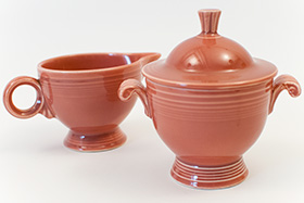 Vintage Fiesta Sugar and Creamer Set in Original 50s Rose Glaze