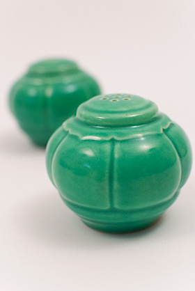 Vintage Riviera Pottery Salt and Pepper Shakers in Original Green Glaze