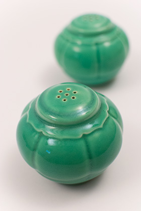 Riviera Homer Laughlin Pottery Green Salt and Pepper Shakers