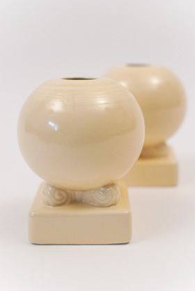 Original Ivory Vintage Fiesta Bulb Candle Holders Fiestaware Pottery For Sale