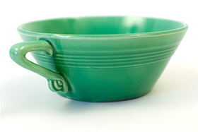 Vintage Harlequin Pottery Cream Soup Bowl in Original Green Glaze 40s Art Deco American Woolworths Homer Laughlin Dinnerware