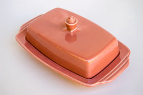 Vintage Harlequin Pottery For Sale: Fiestaware Vintage Rose: Homer Laughlin: Rare Butter Dish