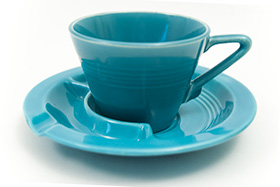 Harlequin Pottery Saucer Ashtray in Turquoise Glaze