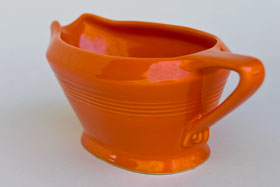 Harlequin Red Sauce Boat: Gift, Rare, Hard to Find, Buy Onlline Now, American Antique Pottery