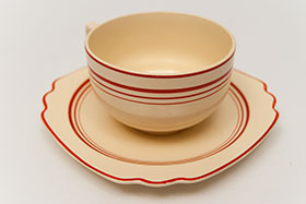 Red Stripe Homer Laughlin Cup and Saucer Set