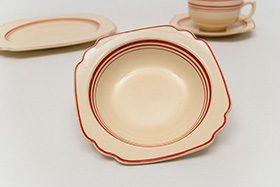 Extremely Rare Tripe Graduating Red Stripe Luncheon Plate Vellum Glaze For Sale
