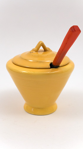 Rare Harlequin Pottery Marmalade in Original Yellow Glaze