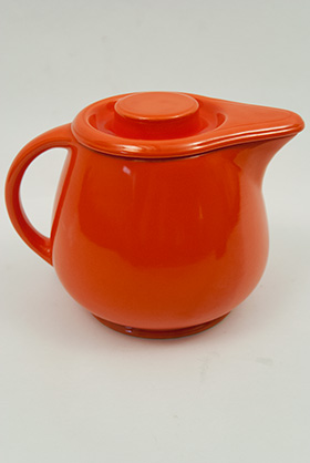 Kitchen Kraft Covered Jug in Original  Radioactive Red: Hard to Find Go-Along Fiestaware Pottery For Sale