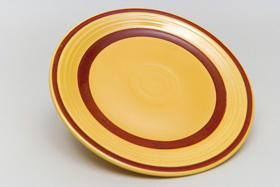 Yellow with Red Striped Fiesta 7 inch Plate Fiestaware Pottery For Sale