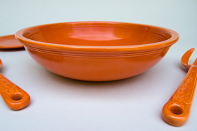 Vintage Fiesta 11 3/4 inch Fruit Bowl: Original Red Fiestaware For Sale Rare Gift Hard to Find 1930s 1940s