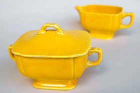 Riviera Pottery for Sale: Original Yellow Sugar and Creamer Set from vintagefiestaware.com