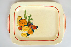Riviera Pottery for Sale: Ivory Batter Tray with Mexicana decals and red stripes from vintagefiestaware.com