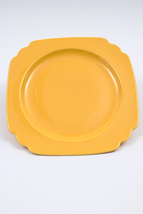 Vintage Riviera Pottery Nine Inch Luncheon Plate in Original Yellow Glaze