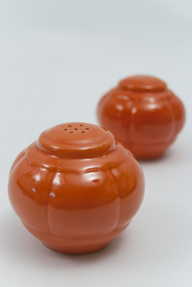 Riviera Homer Laughlin Pottery Radioactive Red Salt and Pepper Shakers