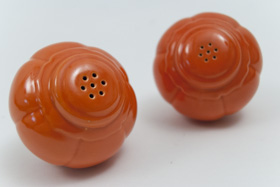 Vintage Riviera Pottery Salt and Pepper Shakers in Original Red Glaze