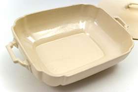 Riviera Covered Casserole in Original Ivory Vellum Glaze For Sale Vintage Pottery 30s Americana Art Deco Dinnerware