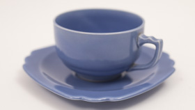 Vintage Riviera Pottery Teacup and Saucer Set in Original Mauve Blue Glaze